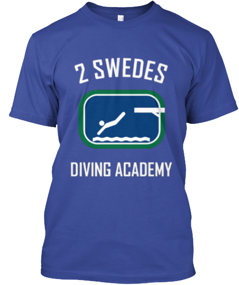 2 Swedes Diving Academy Deep Royal T-Shirt Front