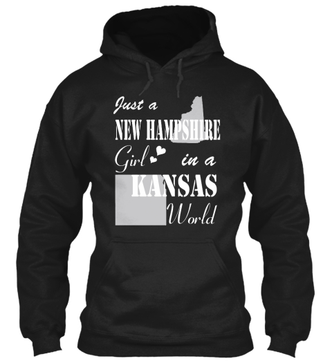 New Hampshire Girl In A Kansas Black Sweatshirt Front