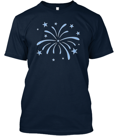Fireworks Independence Day Fourth July New Navy T-Shirt Front