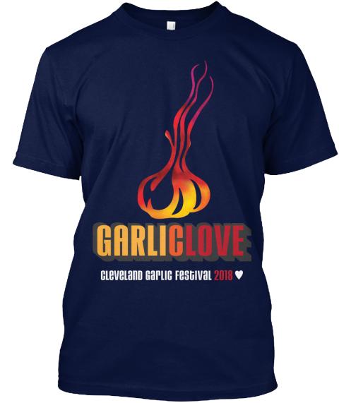 2018 Cleveland Garlic Festival T Shirt Navy T-Shirt Front