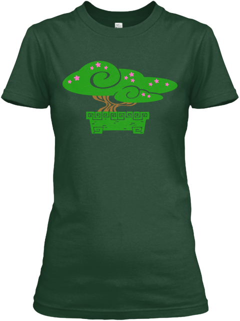 Bonsai Style Forest Green Women's T-Shirt Front