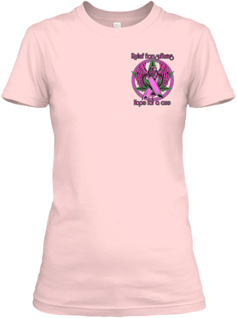 Marijuana Breast Cancer Support Light Pink T-Shirt Front