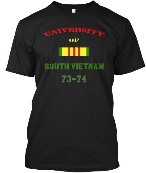 University Of South Vietnam 73 74 Black T-Shirt Front