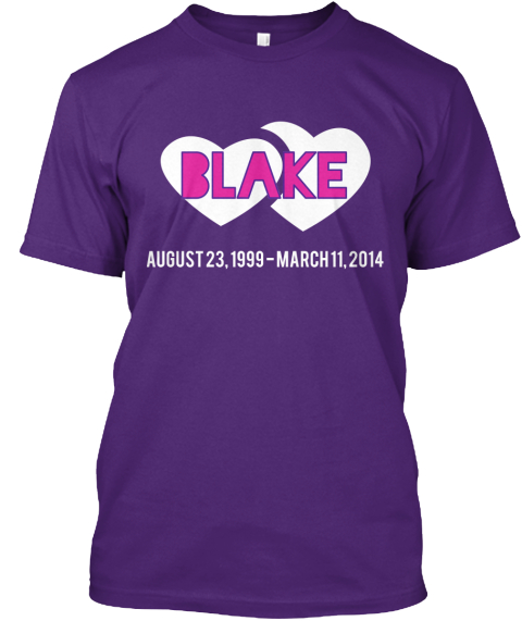 Blake August 23%2 C 1999   March 11%2 C 2014 Purple T-Shirt Front