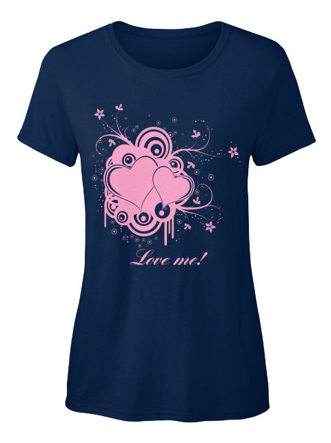 Love Me Navy Women's T-Shirt Front