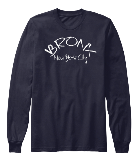 Bronx New York City Navy Long Sleeve T-Shirt Front