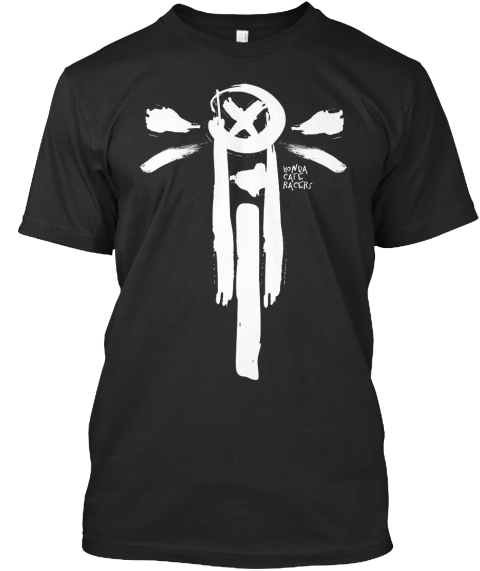 Painted Cafe Racer Black T-Shirt Front