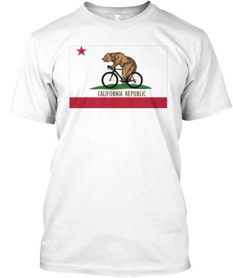 California Bicycling T Shirt White T-Shirt Front
