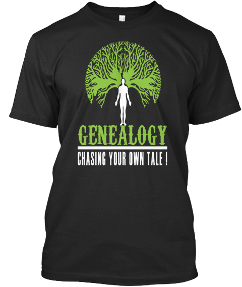 Genealogy: Chasing Your Own Tale Black Camiseta Front
