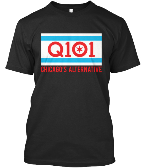 Q101 Chicago Flag Shirt Black T-Shirt Front