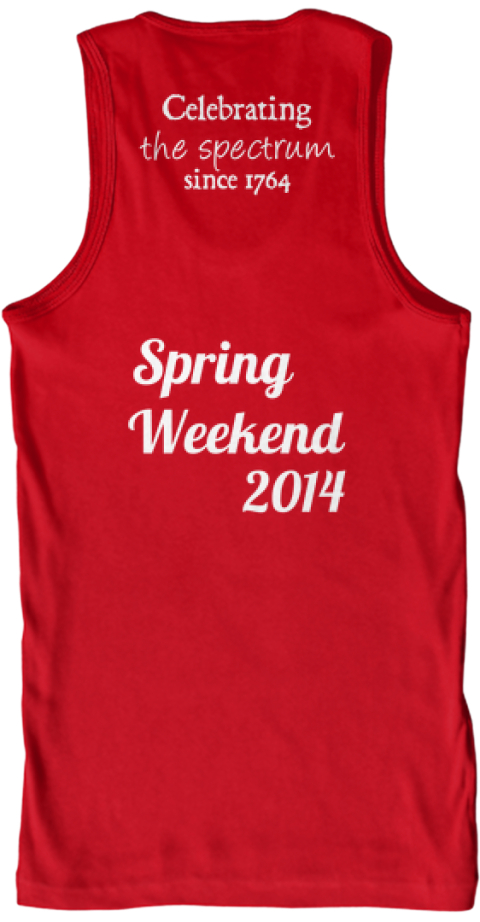 Celebrating The Spectrum Since 1764 Spring  Weekend 2014 Red Tank Top Back
