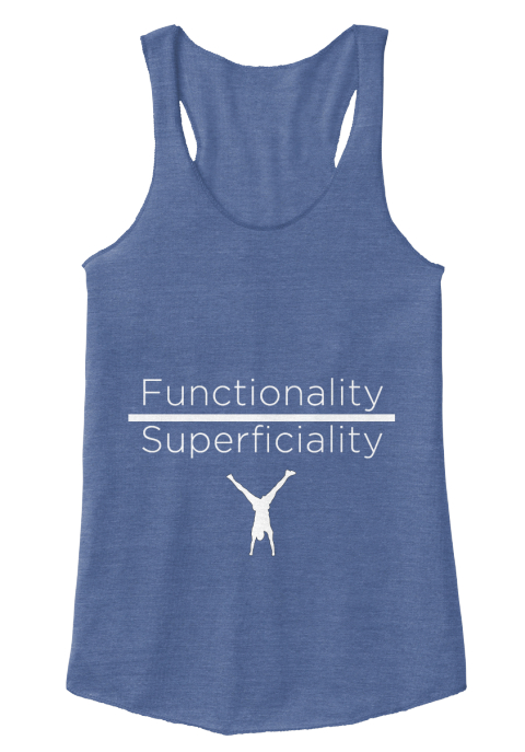 Functionality Over Superficiality Eco Pacific Blue  Women's Tank Top Front