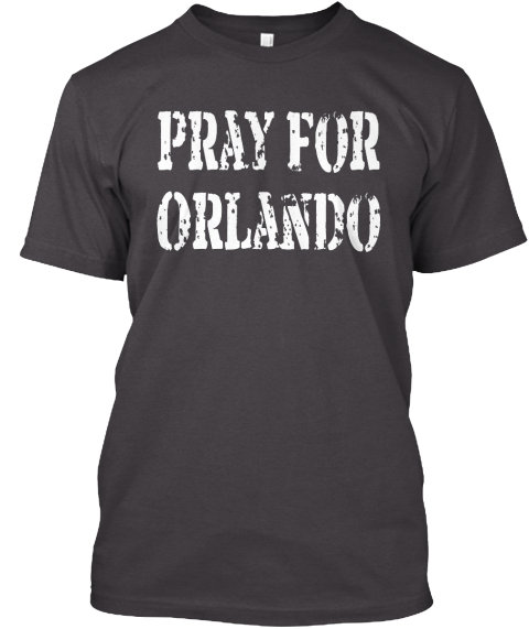 Pray For  Orlando Heathered Charcoal  T-Shirt Front