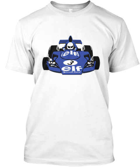 Jackie Stewart's Tyrrell White T-Shirt Front