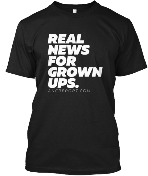 Real News For Grown Ups. Black T-Shirt Front