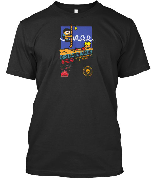 Obstacle Racer Outside Entertainment System Black T-Shirt Front