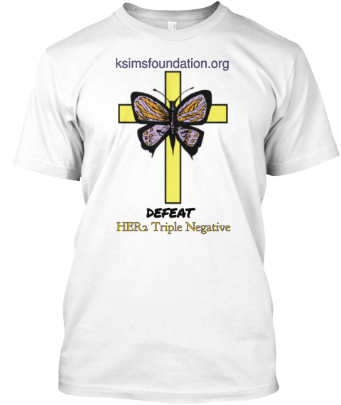 Ksimsfoundation.Org Defeat Her2 Triple Negative White T-Shirt Front