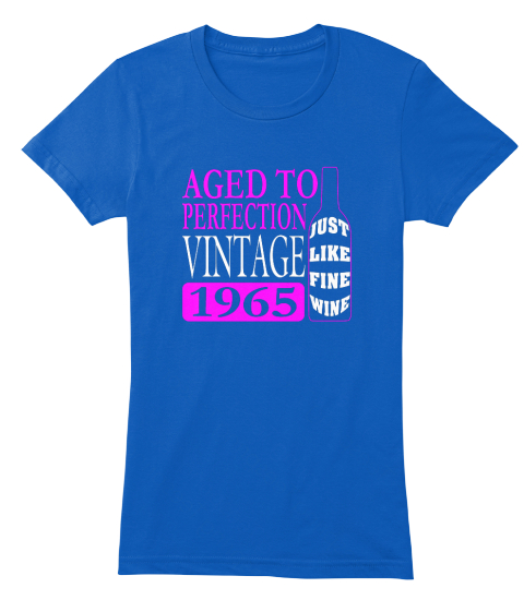 Vintage 1965 50th Birthday T Shirt Royal Womens Front