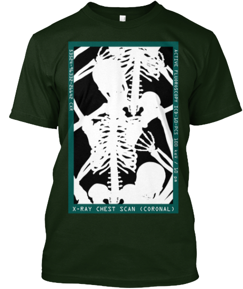 Three Kids Disguised As An Adult X Ray Deep Forest T-Shirt Front