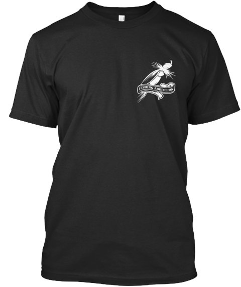 Fishing Addiction Black T-Shirt Front