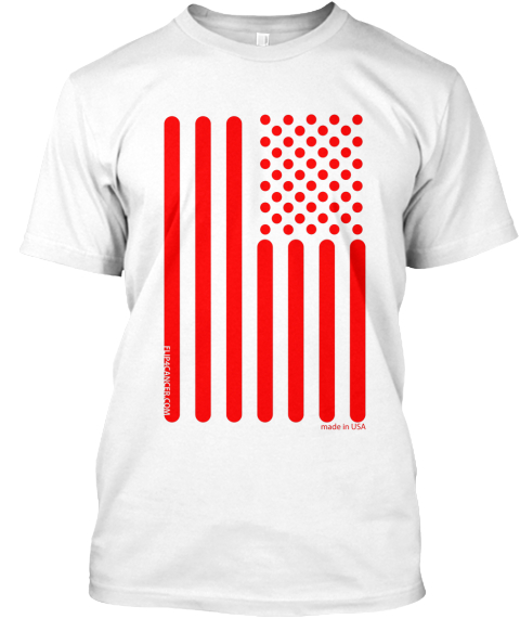 Flip 4 Cancer Tee Red White T-Shirt Front