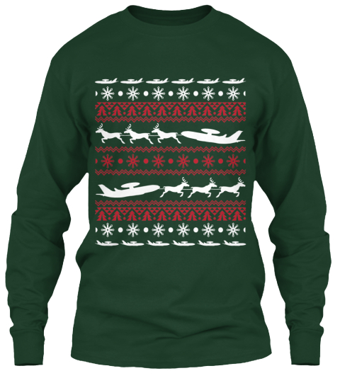 Awacs Christmas Forest Green T-Shirt Front