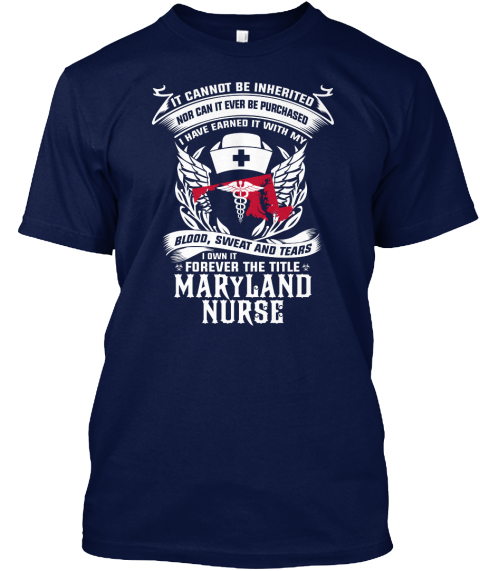 Itcannot Be Inherited Nor Can It Ever Be Purchased I Have Earned It With My Blood,Sweat And Tears I Own It Forever... Navy T-Shirt Front