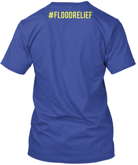 #Floodrelief Deep Royal T-Shirt Back