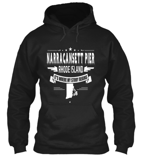 Narragansett Pier Rhode Island It's Where My Story Begins Black Sweatshirt Front