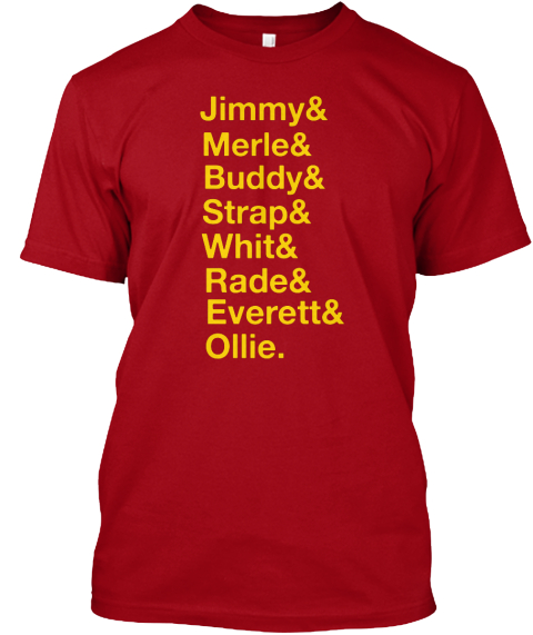 Jimmy & Merle & Buddy & Strap & Whit & Rade & Everett & Ollie Deep Red T-Shirt Front