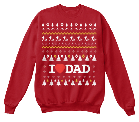 from funny christmas sweaters i love dad deep red sweatshirt front