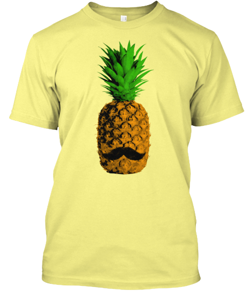 Pineapple Moustache Lemon Yellow  T-Shirt Front