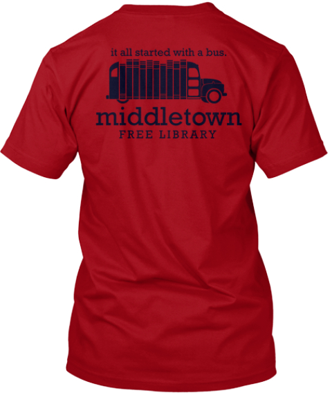 Middletown Free Library New Logo!   Deep Red T-Shirt Back