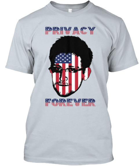 Support Edward Snowden New Silver T-Shirt Front