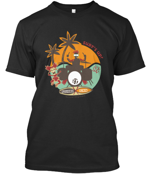 Surf's Up! Stixx Finn Black áo T-Shirt Front