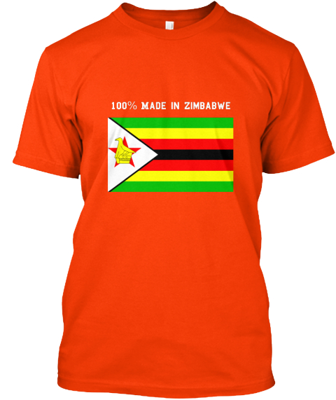 100% Made In Zimbabwe Orange T-Shirt Front
