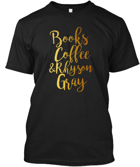 Books Coffee Rhyson Gray Black T-Shirt Front