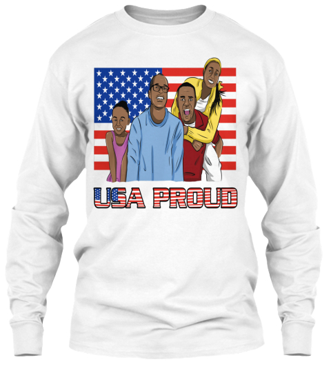 Usa Proud White Long Sleeve T-Shirt Front