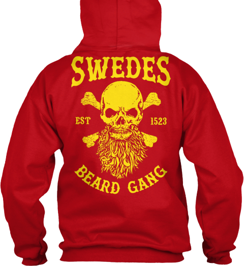Swedes Est 1523 Beard Gang Red Hot Chilli T-Shirt Back