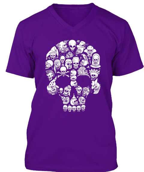 Skulls! Halloween Shirt! #2 Team Purple T-Shirt Front