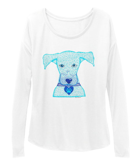 New Life For Paws Cunucu Pup By Sabrina White Long Sleeve T-Shirt Front