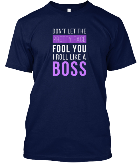 I Roll Like A Boss Jiu Jitsu T Shirt Navy T-Shirt Front