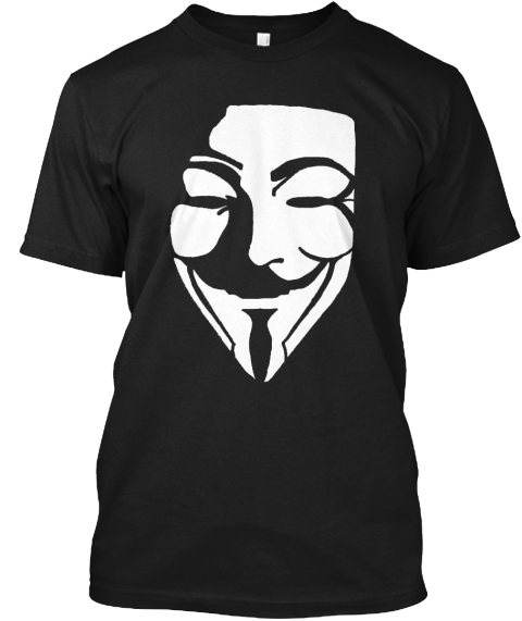 V / Anonymous Black T-Shirt Front