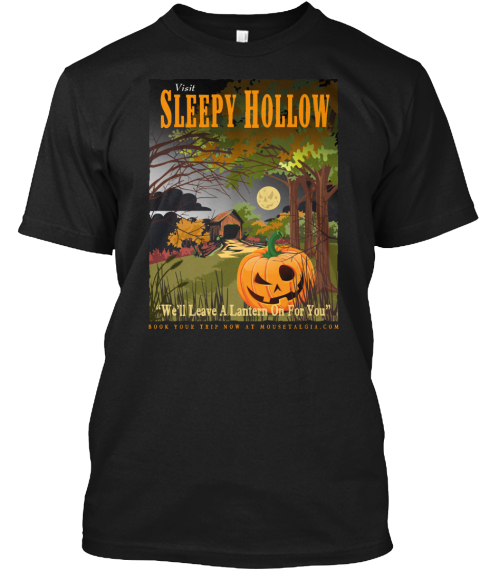 "Visit Sleeps Hollow ""We'll Leave A Lantern On For You"" Black T-Shirt Front"