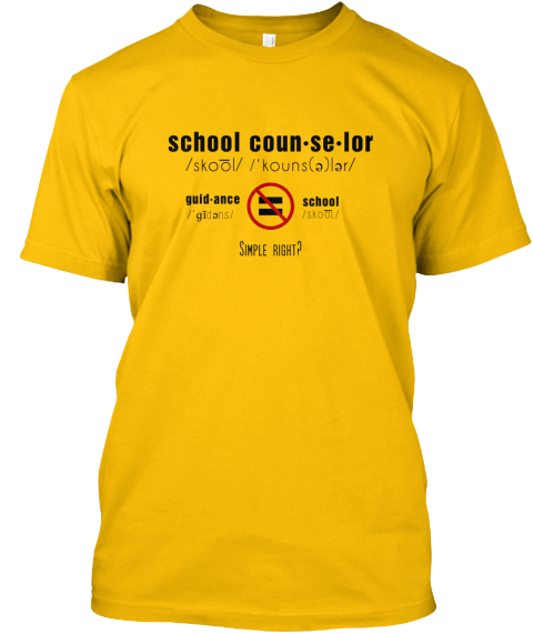 School Coun Se Lor Guidance School Simple Right? Gold T-Shirt Front