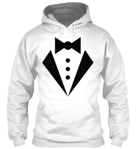 Hoodie Halloween Bow Tie Tux Costume White T-Shirt Front