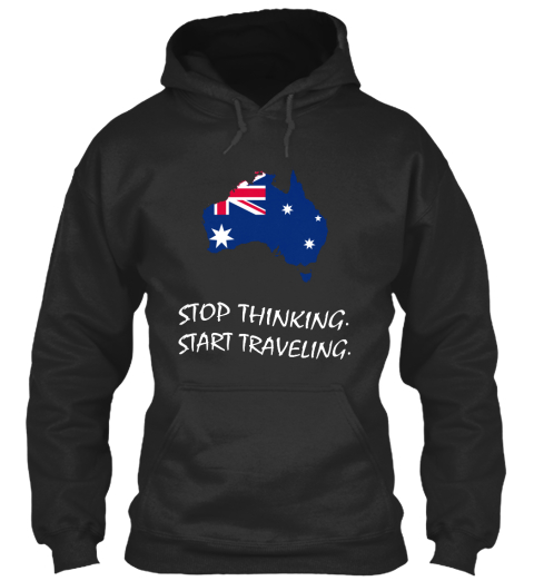 Stop Thinking Start Traveling Jet Black T-Shirt Front