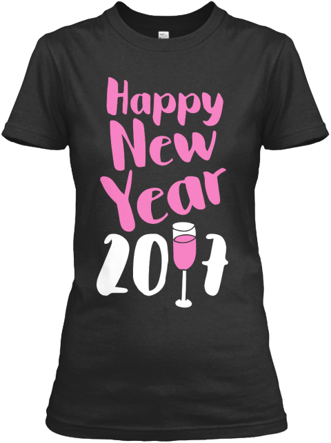 Happy New Year 2017 Black Women's T-Shirt Front