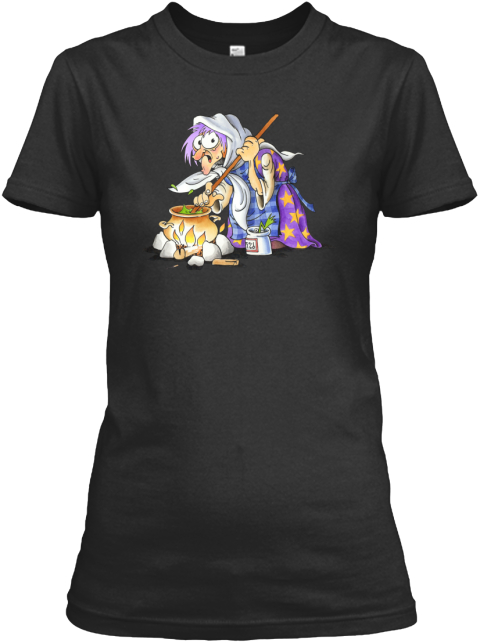 Halloween Shirts With Purple Witch Black Women's T-Shirt Front