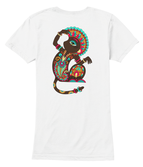 Karakoko Fashion Ethnic Monkey Pair White Women's T-Shirt Back